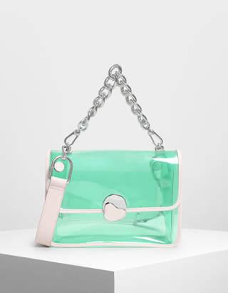 Charles & Keith Chain Handle Transparent Bag