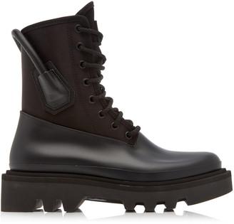 Givenchy Women's Leather-Trimmed Rubber and Neoprene Combat Rainboots - Black - Moda Operandi