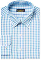 Club Room Estate Men's Classic-Fit Wrinkle Resistant Aqua Box-Check Dress Shirt, Only at Macy's
