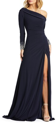 Mac Duggal One-Shoulder Long Sleeve Jersey Gown