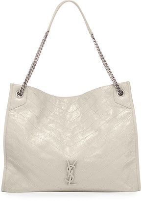 Saint Laurent Niki Large Crinkled Calf Shopper Tote Bag