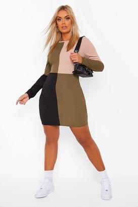 boohoo Plus Colour Block Bodycon Dress