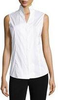 Misook Sleeveless Stretch-Cotton Shirt, Petite