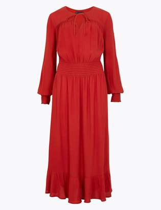 Marks and Spencer Tie Neck Waisted Midi Dress