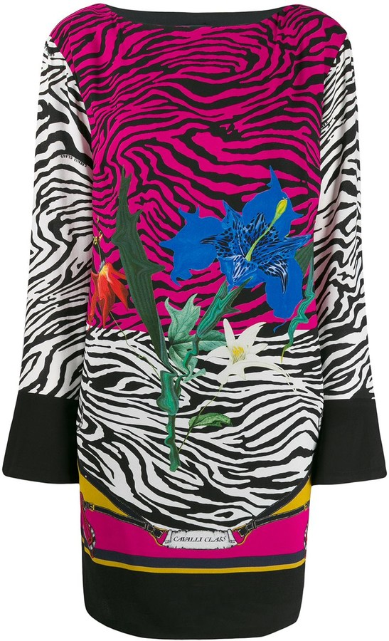 Class Roberto Cavalli Floral Animal Print Dress