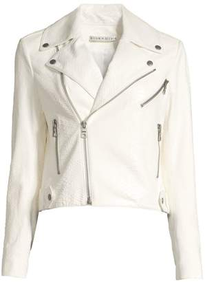Alice + Olivia Cody Snakeskin Embossed Leather Moto Jacket
