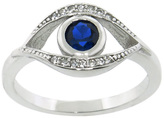 Diamonere Blue Cubic Zirconia & Sterling Silver Evil Eye Ring