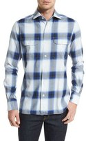 Tom Ford Grand Check Classic-Fit Sport Shirt, Blue/White
