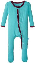 Kickee Pants Solid Ruffle Footie (Baby) - Glacier Melody - 0-3 Months