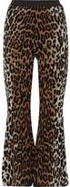 Stella McCartney Cropped Leopard-Print Jacquard Bootcut Pants