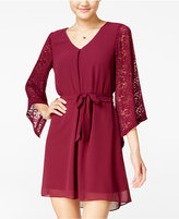 Amy Byer Juniors' Belted Lace-Contrast Dress
