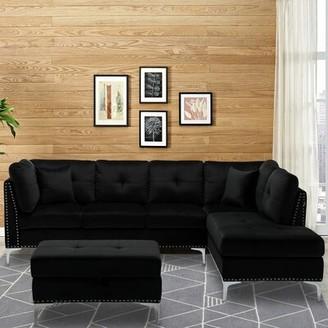 "Everly Quinn Beltran 105.9"" Velvet Right Hand Facing Sofa & Chaise with Ottoman Fabric: Black"
