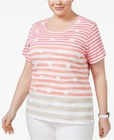 Karen Scott Plus Size Seashell-Print Top, Created for Macy's
