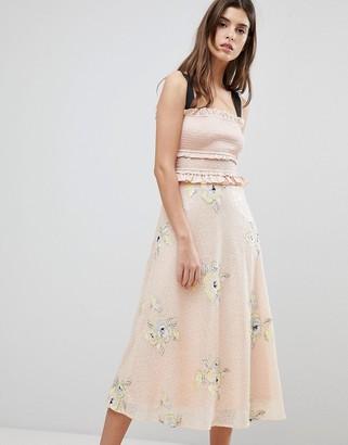Three floor Midi Dress With Frill Detail