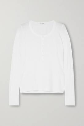 Rag & Bone The Rib Henley Cotton And Modal-blend Jersey Top - White
