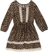 Rare Editions Long Sleeve Cheetah A-Line Dress - Preschool Girls