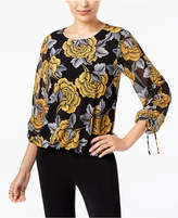 Alfani Floral-Print Tie-Cuff Top, Created for Macy's