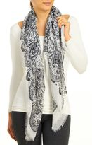 David & Young Women's Foulard With Paisley Border & Frayed Edge Scarf