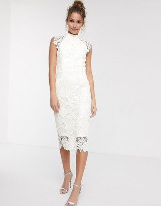 Paper Dolls high neck cap sleeve lace midi dress in winter white