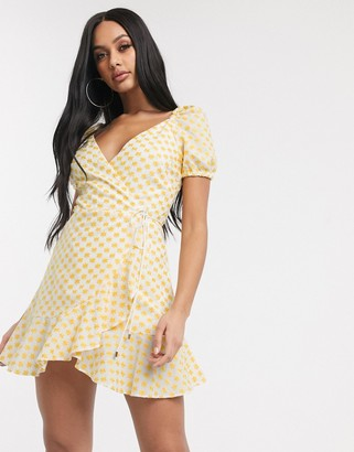 Significant Other symphony daisy embroidered mini wrap dress