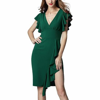 TAK KWONG HERBS Sexy Slim-Fit Women Dress Deep V-Neck Falbala Sleeves Bodycon Midi Pencil Skirt Ruffle Knee Long Dress Green 2XL