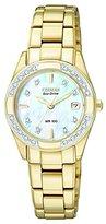 Citizen ECO-DRIVE Women's EW1822-52D Regent Gold-Tone Diamond-Accented Watch