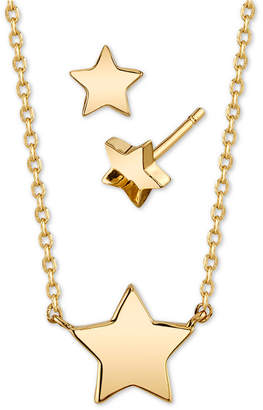Unwritten 2-Pc. Set Mini Star Pendant Necklace & Matching Stud Earrings in Gold-Tone