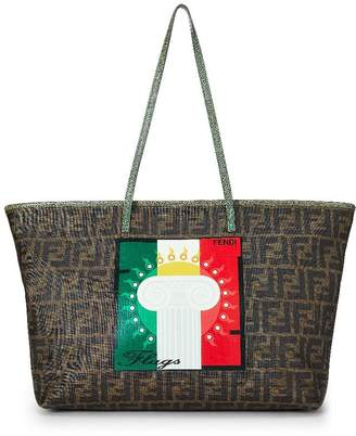 Fendi Green Zucca Coated Canvas Roll Tote