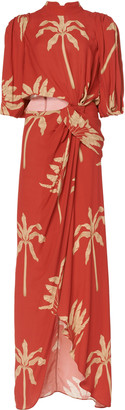 Johanna Ortiz Sprawling Art Printed Crepe De Chine Maxi Dress