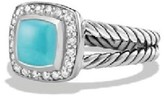 David Yurman Petite Albion Sterling Silver With Turquoise & Diamonds Ring Size 6.75