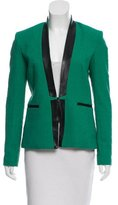 Sea Leather-Trimmed Structured Blazer