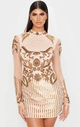 PrettyLittleThing Blush Long Sleeve Mesh Embellished High Neck Bodycon Dress