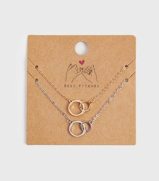 New Look 2 Pack Linked Circle Necklaces
