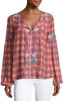 Tolani Alexa Long-Sleeve Printed Tunic w/ Embroidery, Plus Size