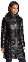 Via Spiga Women's Metallic Packable Down Coat with Hood