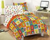 Dream Factory Silly Monsters Ultra Soft Microfiber Comforter Set, Multi-Colored, Twin