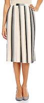 Calvin Klein Straight Hem Multi Stripe Chiffon Accordion Pleated Skirt