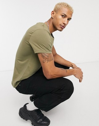 ASOS DESIGN t-shirt with scoop neck in washed khaki