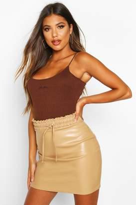 boohoo Elasticated Waist Leather Look Mini Skirt