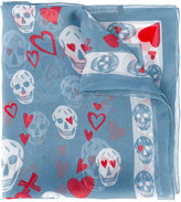 Alexander McQueen heart and skull print scarf - women - Silk - One Size
