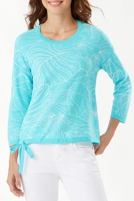 Tommy Bahama Island Bloom Jacquard Tie Hem Sweater