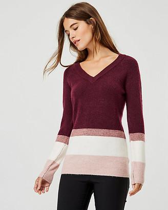 Le Château Stripe Knit V-Neck Sweater