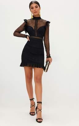 PrettyLittleThing Black Lace Chiffon Frill Detail Bodycon Dress