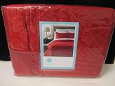 Martha Stewart Diamond Plush Poinsettia Red Full Queen Quilt Nip