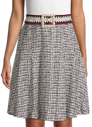 Edward Achour Faux Pearl-Embellished Tweed Skirt