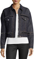 Versace Embellished Denim Jacket, Navy