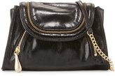 Hobo Zandra Zip-Trim Leather Crossbody Bag, Black