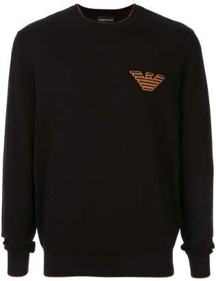 Emporio Armani embroidered eagle logo pullover