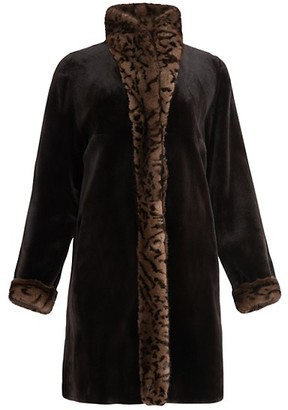 Wolfie Fur Reversible Leopard-Print Mink Fur-Trim Coat