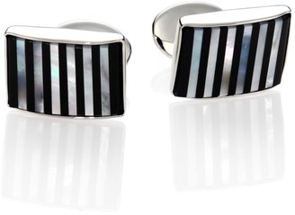 David Donahue Sterling Silver, Onyx & Mother Of Pearl Cuff Links